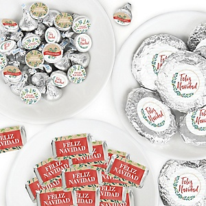 Feliz Navidad - Mini Candy Bar Wrappers, Round Candy Stickers and Circle Stickers - Holiday and Spanish Christmas Party Candy Favor Sticker Kit - 304 Pieces