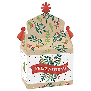 Feliz Navidad - Treat Box Party Favors - Holiday and Spanish Christmas Party Goodie Gable Boxes - Set of 12