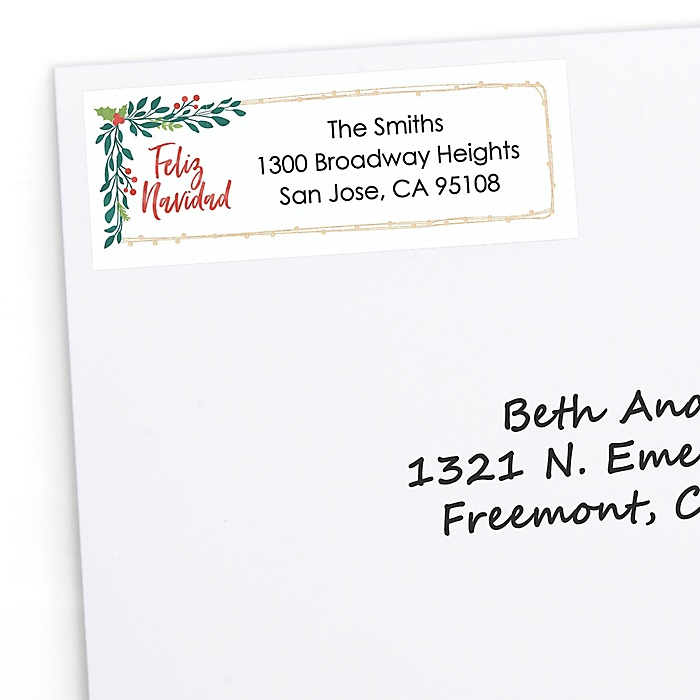 Feliz Navidad - Personalized Holiday and Spanish Christmas Party Return Address Labels - 30 ct