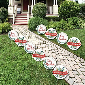 Feliz Navidad - Lawn Decorations - Outdoor Holiday and Spanish Christmas Party Yard Decorations - 10 Piece
