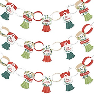 Feliz Navidad - 90 Chain Links and 30 Paper Tassels Decoration Kit - Holiday and Spanish Christmas Party Paper Chains Garland - 21 feet