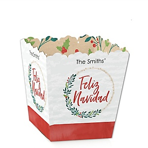 Feliz Navidad - Party Mini Favor Boxes - Holiday and Spanish Christmas Party Treat Candy Boxes - Set of 12