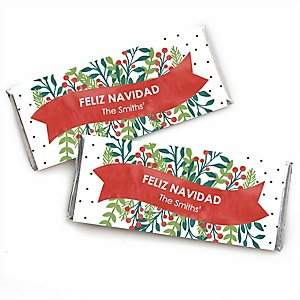 Feliz Navidad - Personalized Candy Bar Wrapper Holiday and Spanish Christmas Party  Favors - Set of 24