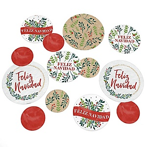 Feliz Navidad - Holiday and Spanish Christmas Party Giant Circle Confetti - Party Decorations - Large Confetti 27 Count
