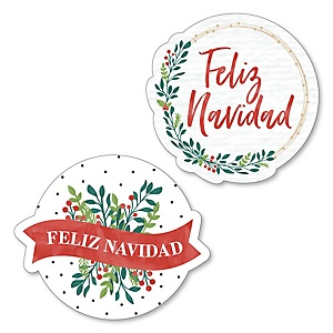 Feliz Navidad - DIY Shaped Holiday and Spanish Christmas Party Cut-Outs - 24 ct