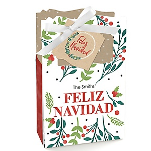 Feliz Navidad - Holiday and Spanish Christmas Party Favor Boxes - Set of 12