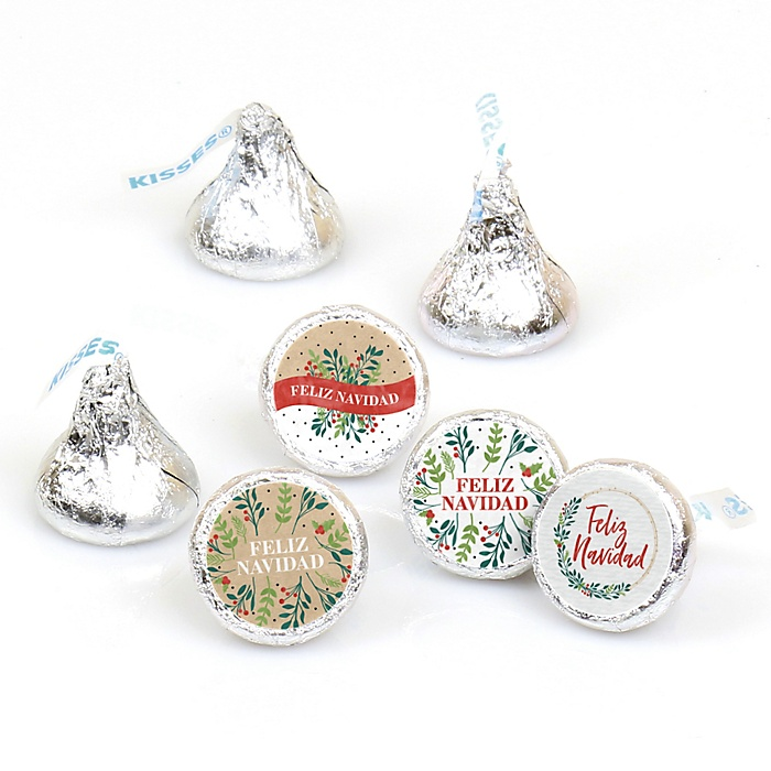 Feliz Navidad - Holiday and Spanish Christmas Party Round Candy Sticker Favors - Labels Fit Hershey's Kisses  - 108 ct