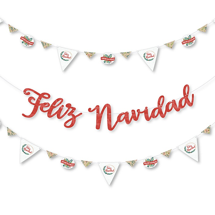 Feliz Navidad - Holiday and Spanish Christmas Party Letter Banner Decoration - 36 Banner Cutouts and Let It Snow Banner Letters