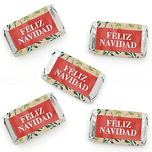 Feliz Navidad - Mini Candy Bar Wrapper Stickers - Holiday and Spanish Christmas Party Small Favors - 40 Count