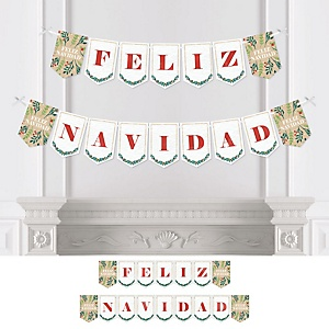 Feliz Navidad - Personalized Holiday and Spanish Christmas Party Bunting Banner & Decorations