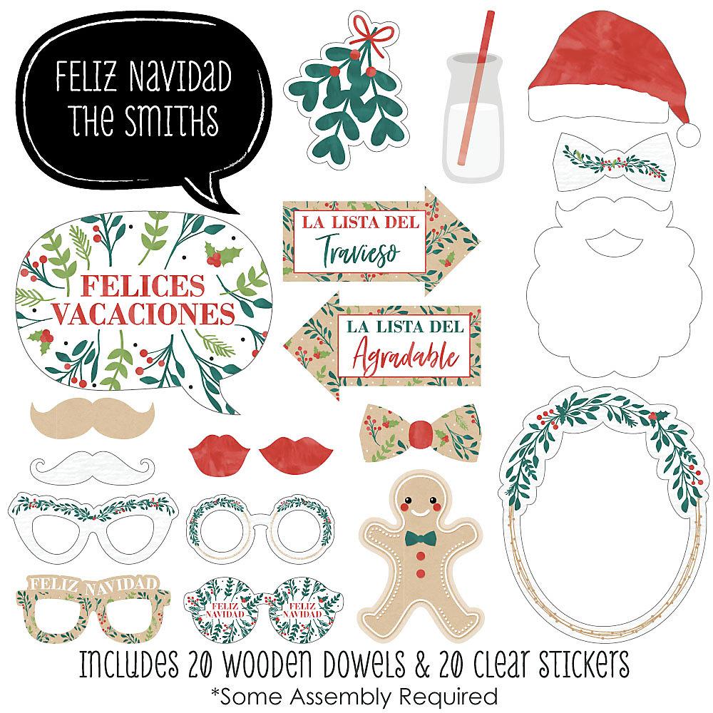 Feliz Navidad Cristmas.Feliz Navidad 20 Piece Holiday And Spanish Christmas Party Photo Booth Props Kit