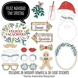 Feliz Navidad - 20 Piece Holiday and Spanish Christmas Party Photo Booth Props Kit