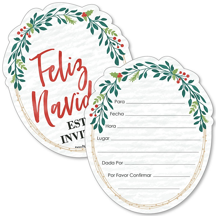 Feliz Navidad - Shaped Fill-In Invitations - Holiday and Spanish Christmas Party Invitation Cards with Envelopes - Set of 12