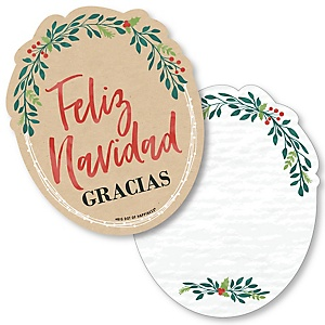 Feliz Navidad - Shaped Thank You Cards - Holiday and Spanish Christmas Party Thank You Note Cards with Envelopes - Set of 12