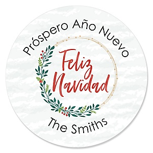 Feliz Navidad - Holiday and Spanish Christmas Party Circle Sticker Labels - 24 Count