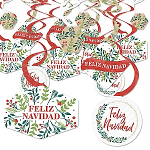 Feliz Navidad - Holiday and Spanish Christmas Party Hanging Decor - Party Decoration Swirls - Set of 40