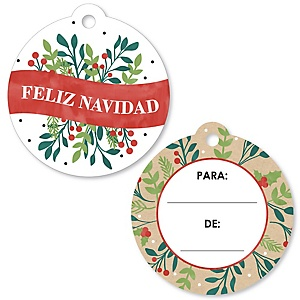 Feliz Navidad - Holiday and Spanish Christmas Party To and From Favor Gift Tags (Set of 20)