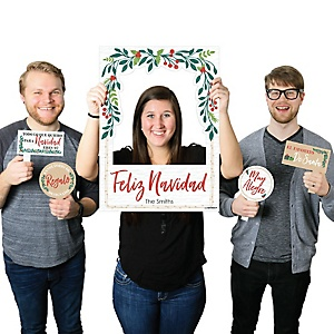Feliz Navidad - Personalized Holiday and Spanish Christmas Party Selfie Photo Booth Picture Frame & Props - Printed on Sturdy Material