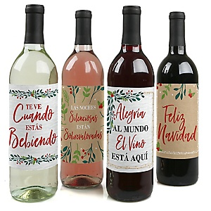 Feliz Navidad - Holiday and Spanish Christmas Party Decorations for Women and Men - Wine Bottle Label Stickers - Set of 4