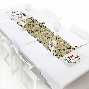 "Feliz Navidad - Personalized Petite Holiday and Spanish Christmas Party Table Runner - 12"" x 60"""
