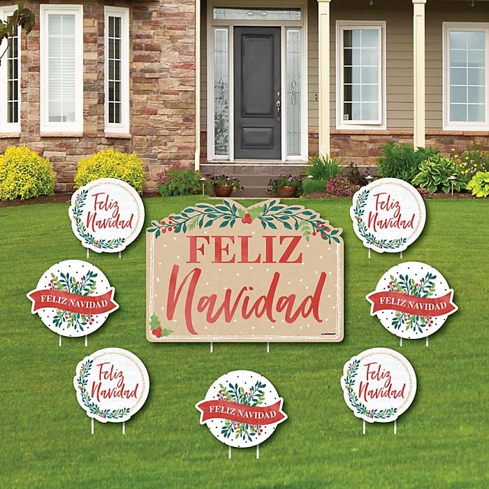 Feliz Navidad - Yard Sign & Outdoor Lawn Decorations - Holiday and Spanish Christmas Party Yard Signs - Set of 8