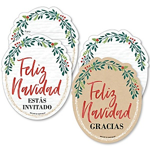 Feliz Navidad - 20 Shaped Fill-In Invitations and 20 Shaped Thank You Cards Kit - Holiday and Spanish Christmas Party Stationery Kit - 40 Pack