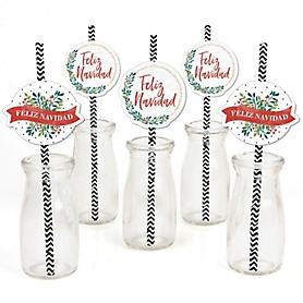 Feliz Navidad - Holiday and Spanish Christmas Party Paper Straw Decor - Party Striped Decorative Straws - Set of 24