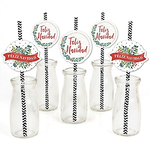 Feliz Navidad - Holiday and Spanish Christmas Party Paper Straw Decor - Party Striped Decorative Straws - Set of 24