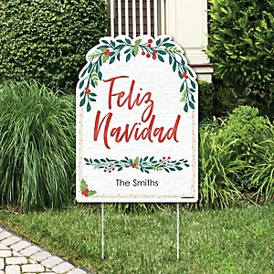 Feliz Navidad - Party Decorations - Holiday and Spanish Christmas Party Personalized Welcome Yard Sign