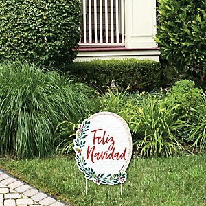 Feliz Navidad - Rock Your Ugly Here Outdoor Lawn Sign - Holiday and Spanish Christmas Party  Yard Sign - 1 Piece