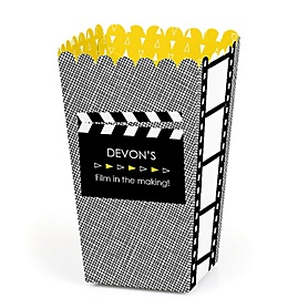 Movie - Hollywood Party - Personalized Red Carpet Party Popcorn Favor Treat Boxes - Set of 12