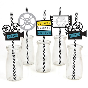 A film in the making graduation theme bigdotofhappiness movie hollywood party paper straw decor red carpet party striped decorative straws set of 24 solutioingenieria Image collections
