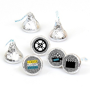 Movie - Hollywood Party - Round Candy Labels Red Carpet Party Favors - Fits Hershey's Kisses 108 ct