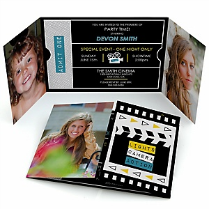 Movie - Hollywood Party - Personalized Photo Red Carpet Party Invitations - Set of 12