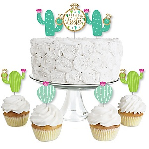 Final Fiesta - Dessert Cupcake Toppers - Last Fiesta Bachelorette Party Clear Treat Picks - Set of 24