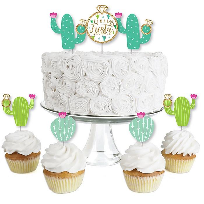 Final Fiesta - Dessert Cupcake Toppers - Last Fiesta Bachelorette Party Clear Treat Picks - Set of 24