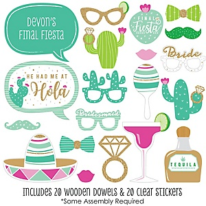 Final Fiesta - Last Fiesta Bachelorette Party Photo Booth Props Kit - 20 Count