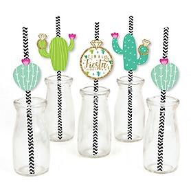 Final Fiesta - Paper Straw Decor - Last Fiesta Bachelorette Party Striped Decorative Straws - Set of 24
