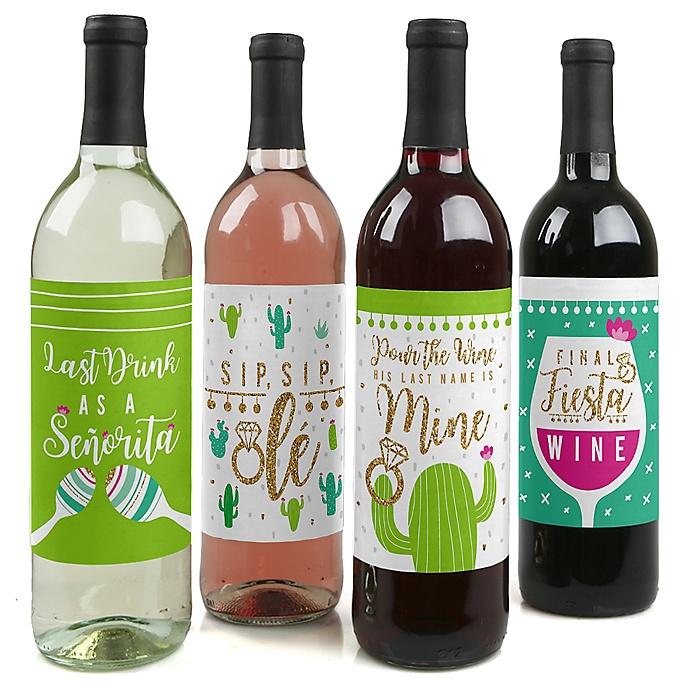 Final Fiesta - Last Fiesta Bachelorette Party Decorations for Women and Men - Wine Bottle Label Stickers - Set of 4