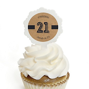 Finally 21 - 21st Birthday - Personalized Birthday Party Cupcake Pick and Sticker Kit - 12 ct