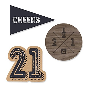 Finally 21 - 21st Birthday - DIY Shaped Party Paper Cut-Outs - 24 ct