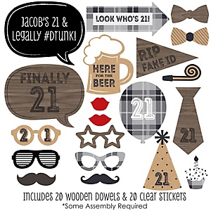 Finally 21 - 21st Birthday - 20 Piece Photo Booth Props Kit