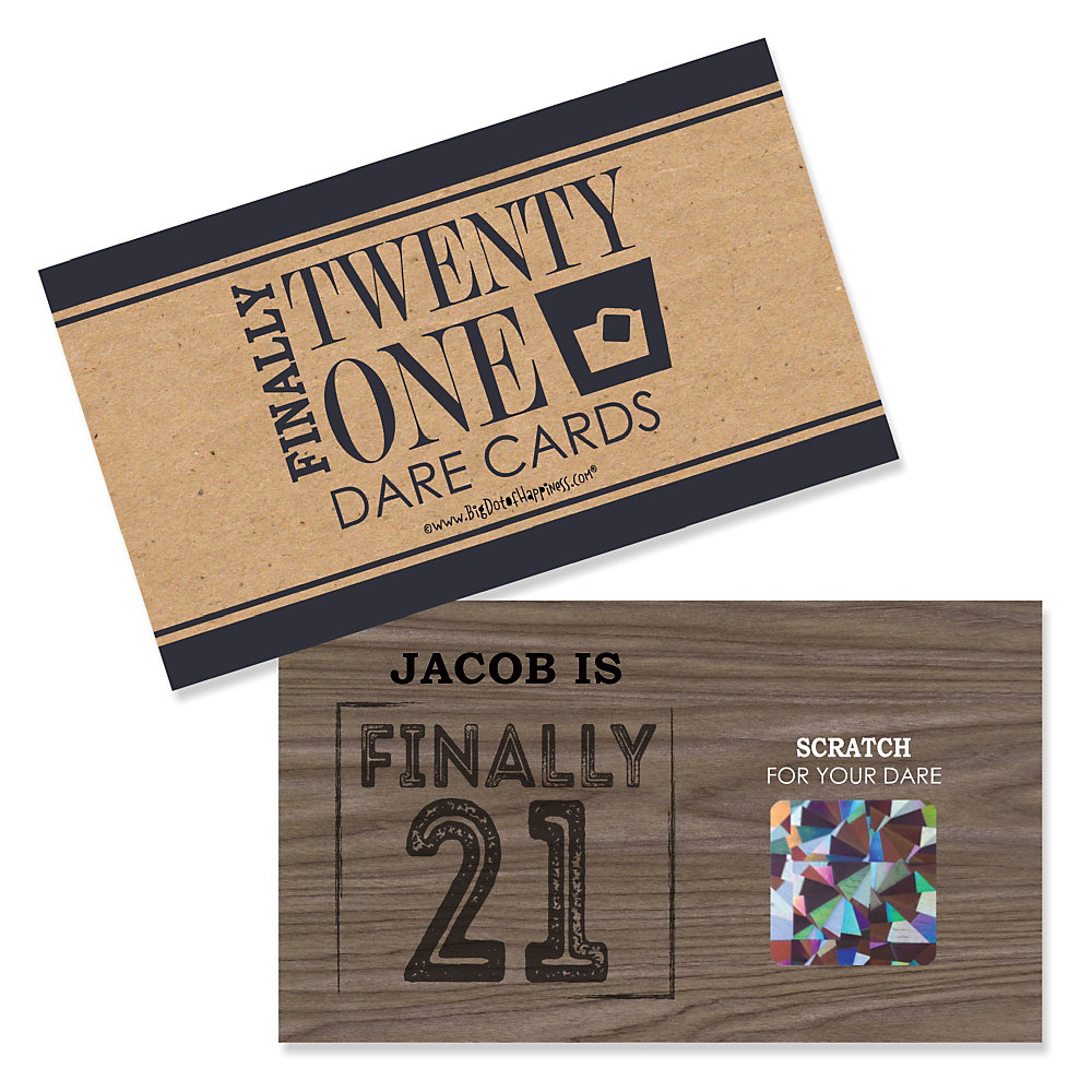 Personalized 21st Birthday Party Scratch Off Dare Cards