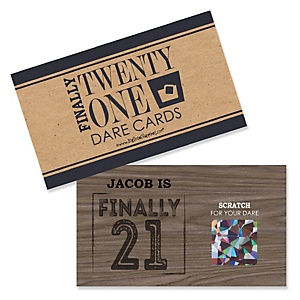 Finally 21 - 21st Birthday - Personalized 21st Birthday Party Scratch Off Dare Cards - 22 ct
