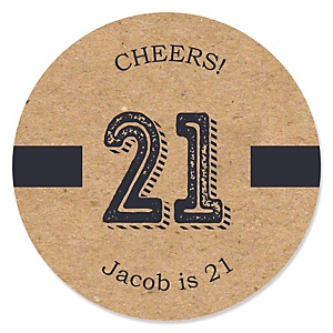 Finally 21 - 21st Birthday - Personalized Birthday Party Sticker Labels - 24 ct