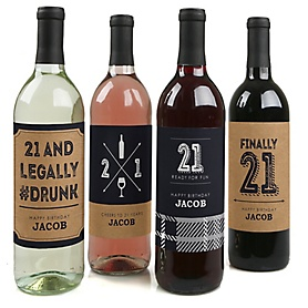 Finally 21 - Decorations for Women and Men - Wine Bottle Labels Birthday Gift - Set of 4