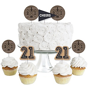 Finally 21 - 21st Birthday - Dessert Cupcake Toppers - 21st Birthday Party Clear Treat Picks - Set of 24