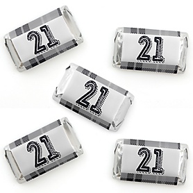Finally 21 - Mini Candy Bar Wrapper Stickers - 21st Birthday Party Small Favors - 40 Count