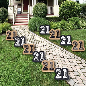 Finally 21 - Lawn Decorations - Outdoor Birthday Party Yard Decorations - 10 Piece