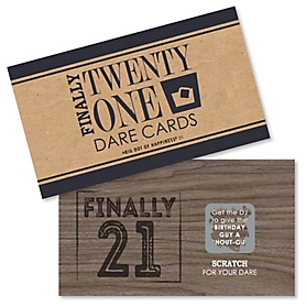 Finally 21 - 21st Birthday - 21st Birthday Party Scratch Off Dare Cards - 22 ct